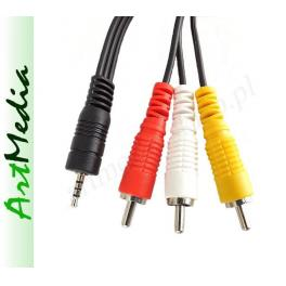 kabel Jack 2,5 4 PIN polowy -3RCA chinch ms4  2,5m
