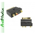 adapter RCA chinch SCART SVHS IN / OUT przeł. Gold